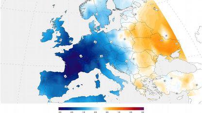 Mapa das diferenzas de temperatura entre o verán de 1816 e a media dos veráns de 1971 ao 2000