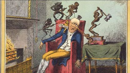«El dolor de cabeza», por George Cruikshank. Viñeta publicada el 12 de febrero de 1819
