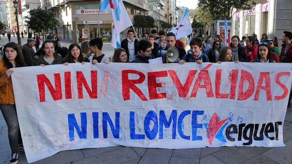 El colectivo de intérpretes de lengua de signos, en una manifestación educativa.Manifestación en Oviedo por el 15M