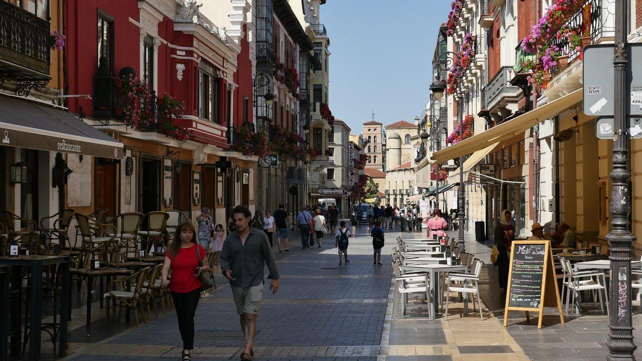 .Vista de una calle peatonal en León