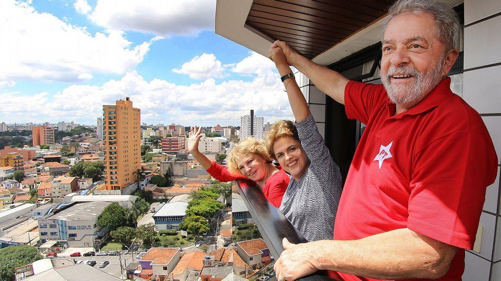 .Marisa, a la izquierda, al lado de Dilma y Lula