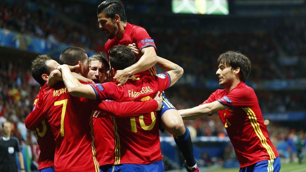 Las mejores imágenes del España - Turquía.David Villa