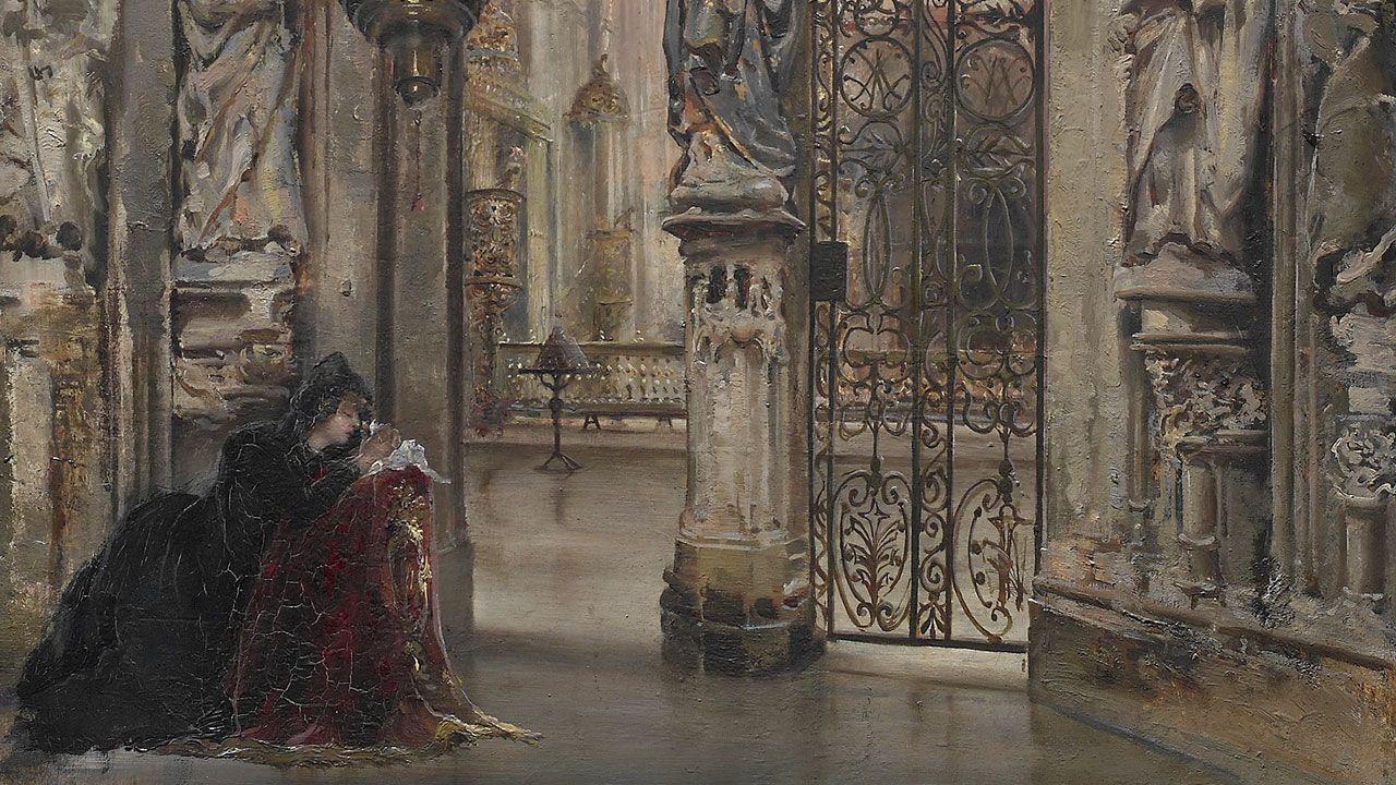 José Uría y Uría. Detalle de «El arco del rey Casto (Catedral de Oviedo)» (1887)