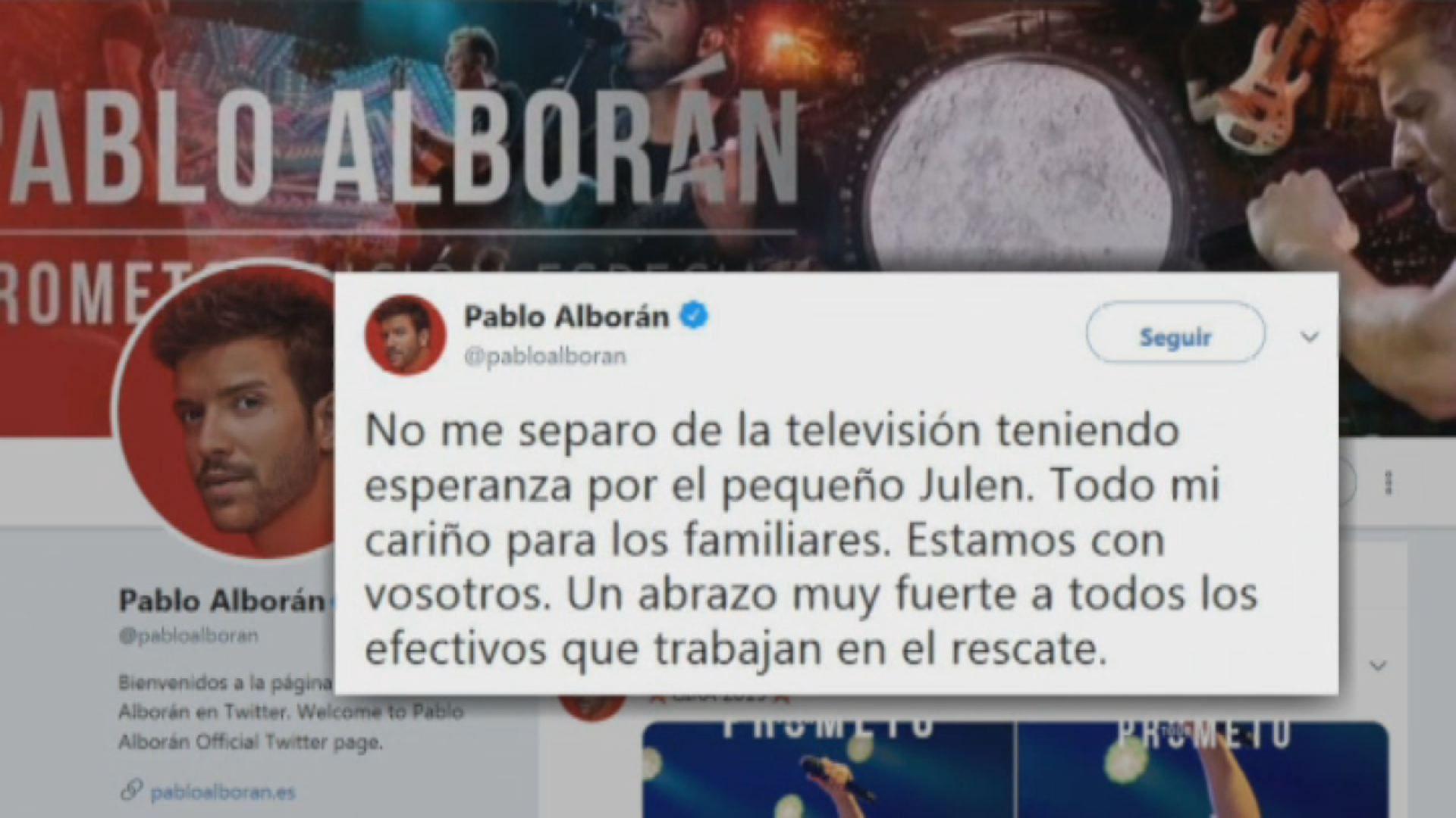 Famosos como Pablo Alborán han mostrado en Twitter su conmoción ante el caso de Julen en Totalán