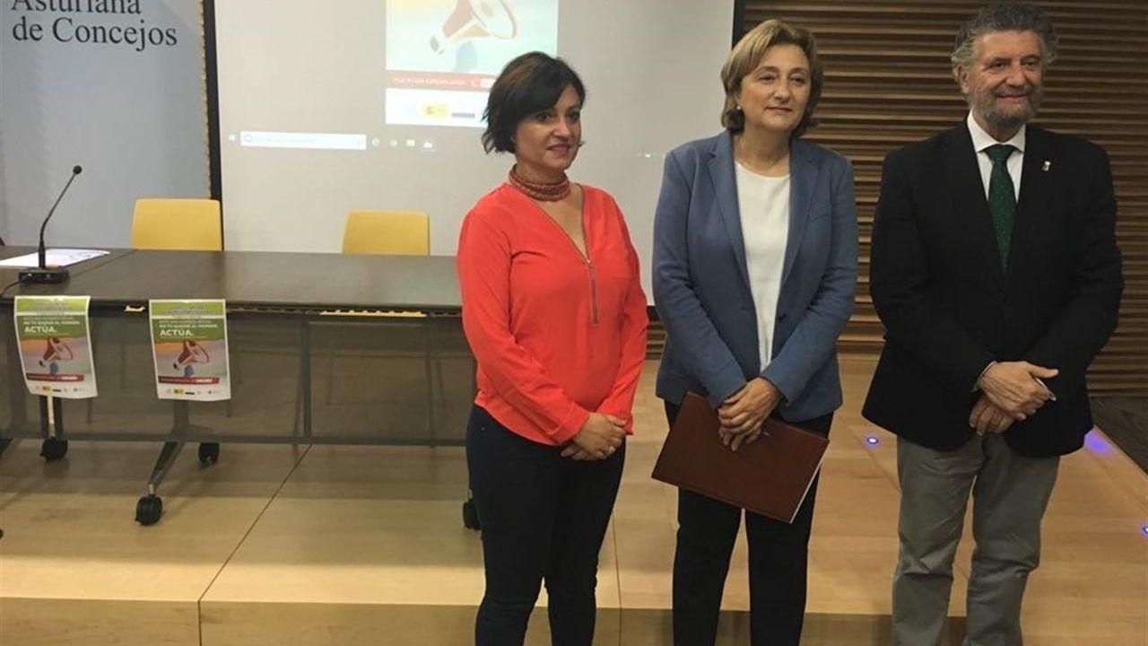 .La directora del Instituto Asturiano de la Mujer, Almudena Cueto; la delegada del Gobierno en Asturias, Delia Losa; y el presidente de la Federación Asturiana de Concejos (FACC), Ignacio García Palacios