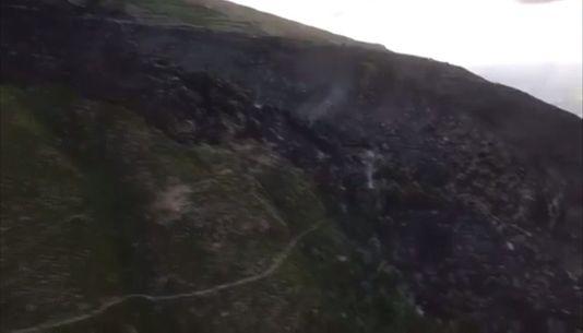 La huella del fuego en O Barco desde el aire