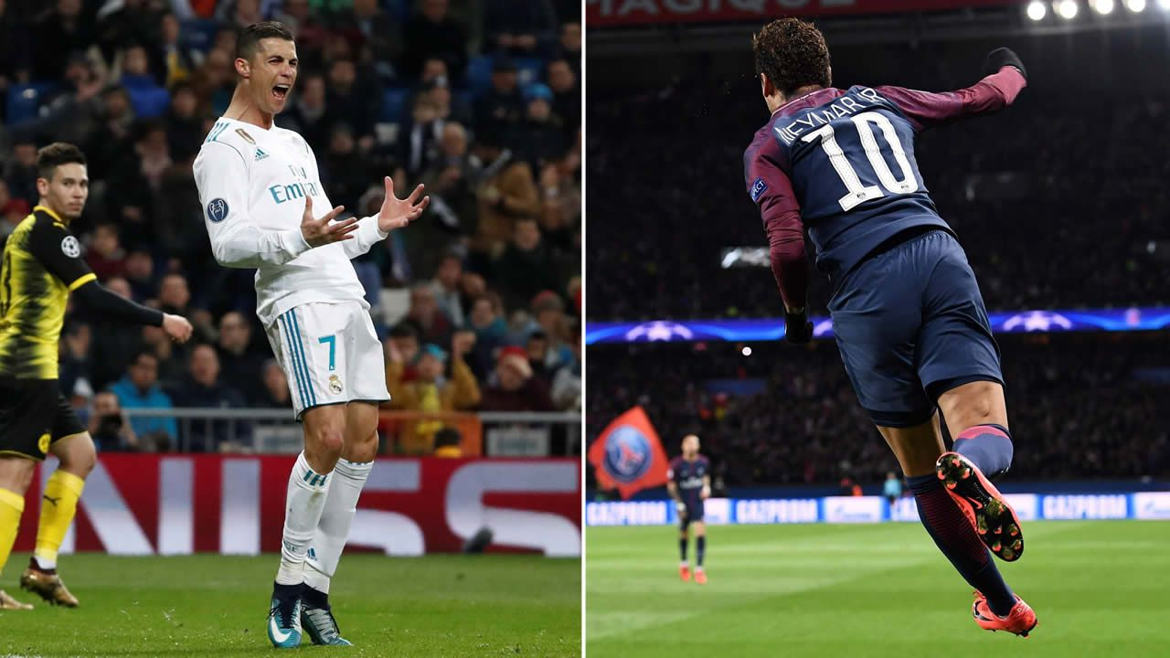 Cristiano Ronaldo celebra en partido en el Santiago Bernabeu