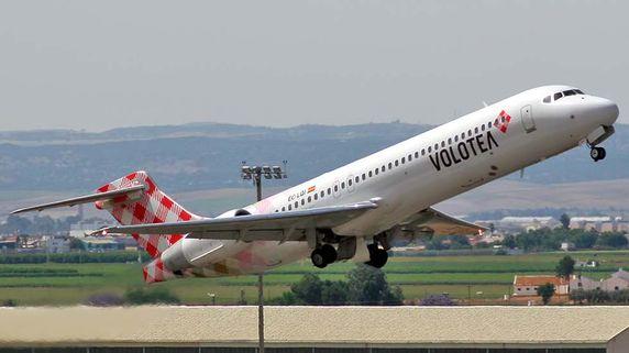 Un avión de la aerolínea Volotea