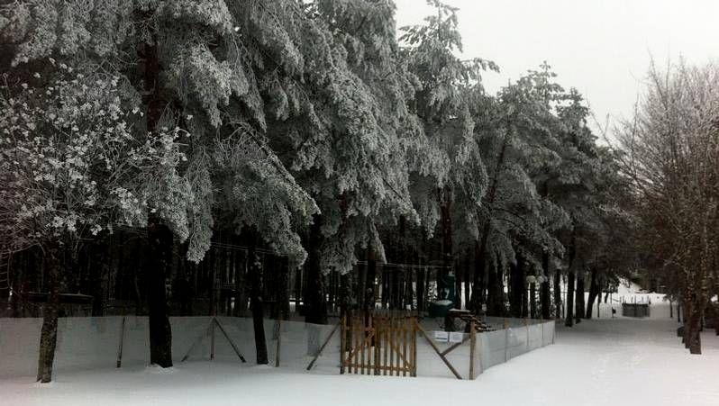.La estación de esquí ha amanecido cubierta de una densa capa de nieve