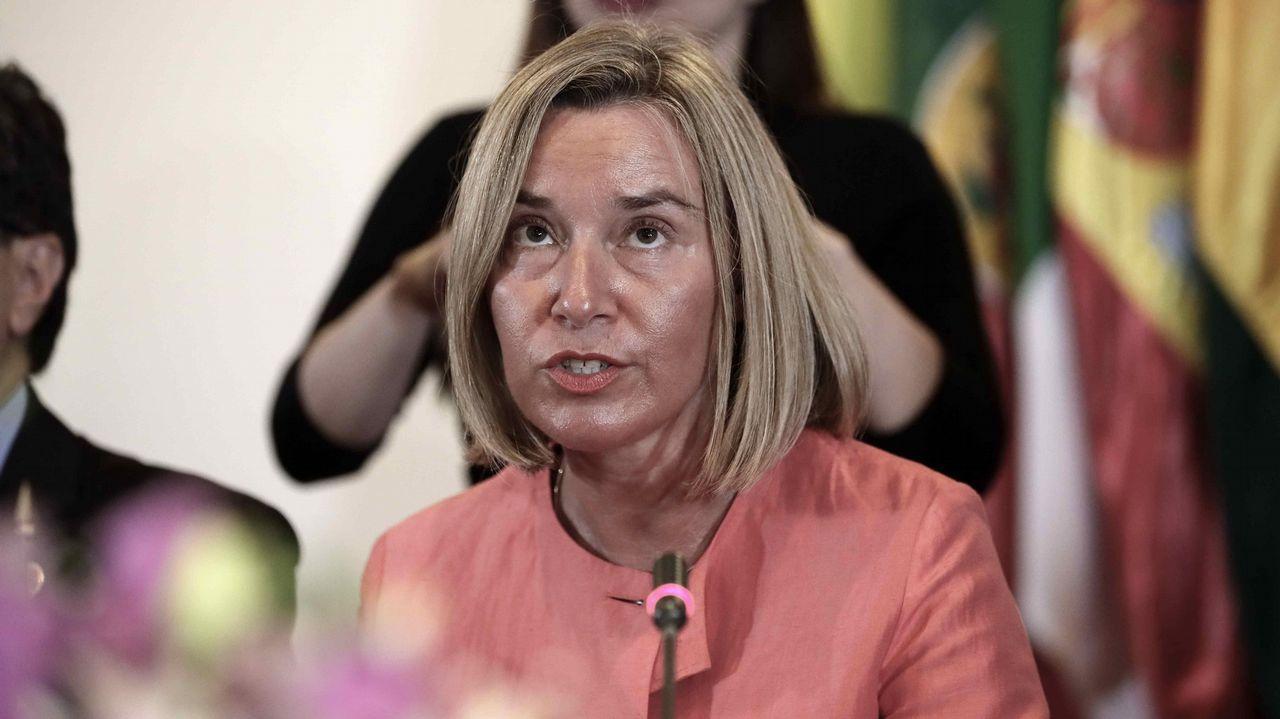 La jefa de la diplomacia europea, Federica Mogherini, durante la apertura de la reunión del Grupo Internacional del Contacto sobre Venezuela, que se celebra en Costa Rica