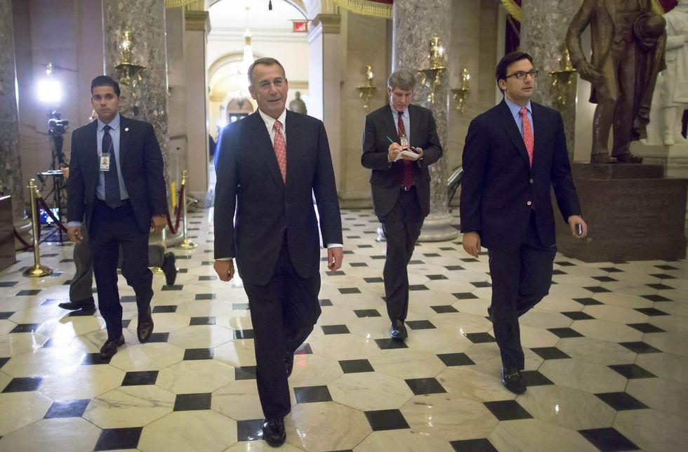 Rosa.El líder republicano, John Boehner, tras cerrar el acuerdo presupuestario.