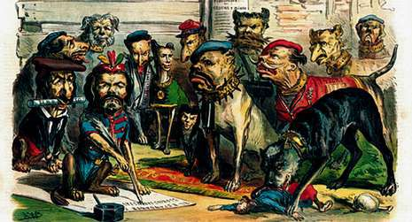 La satira política se apoyaba frecuentemente en el dibujo.