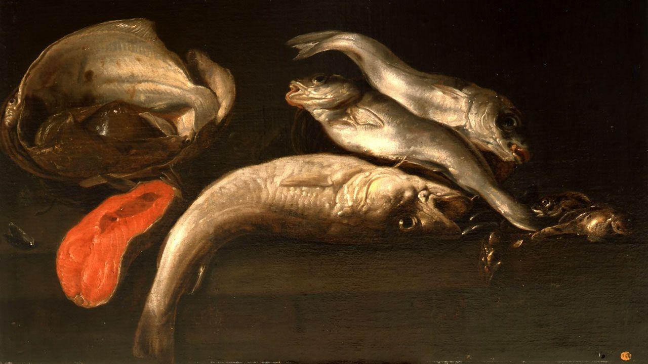 Elias Vonck. «Bodegón con peces» (hacia 1650)