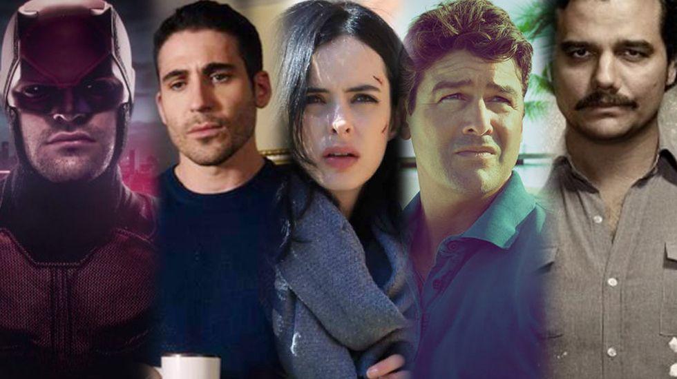 De izquierda a derecha, fotogramas de «Daredevil», «Sense8», «Jessica Jones», «Bloodline» y «Narcos»