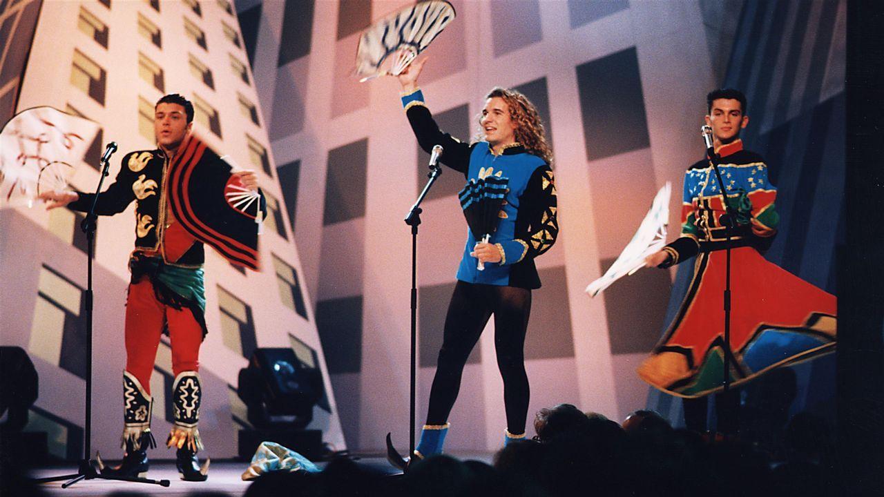 .Actuación de Locomía en Santiago, en una imagen de 1994