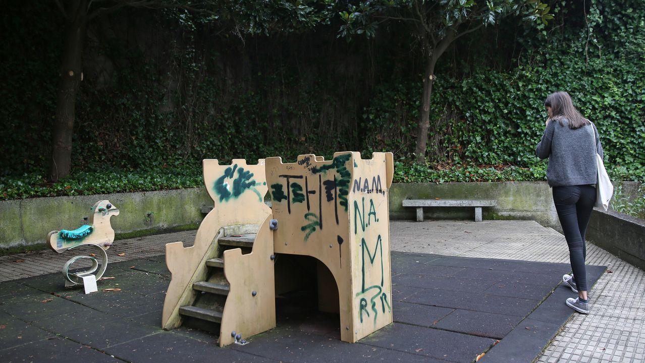 .Los dos columpios del parque del barrio de A Follateira, en la calle Xunqueira de Espadanedo, se esconden entre la maleza y las enredaderas.