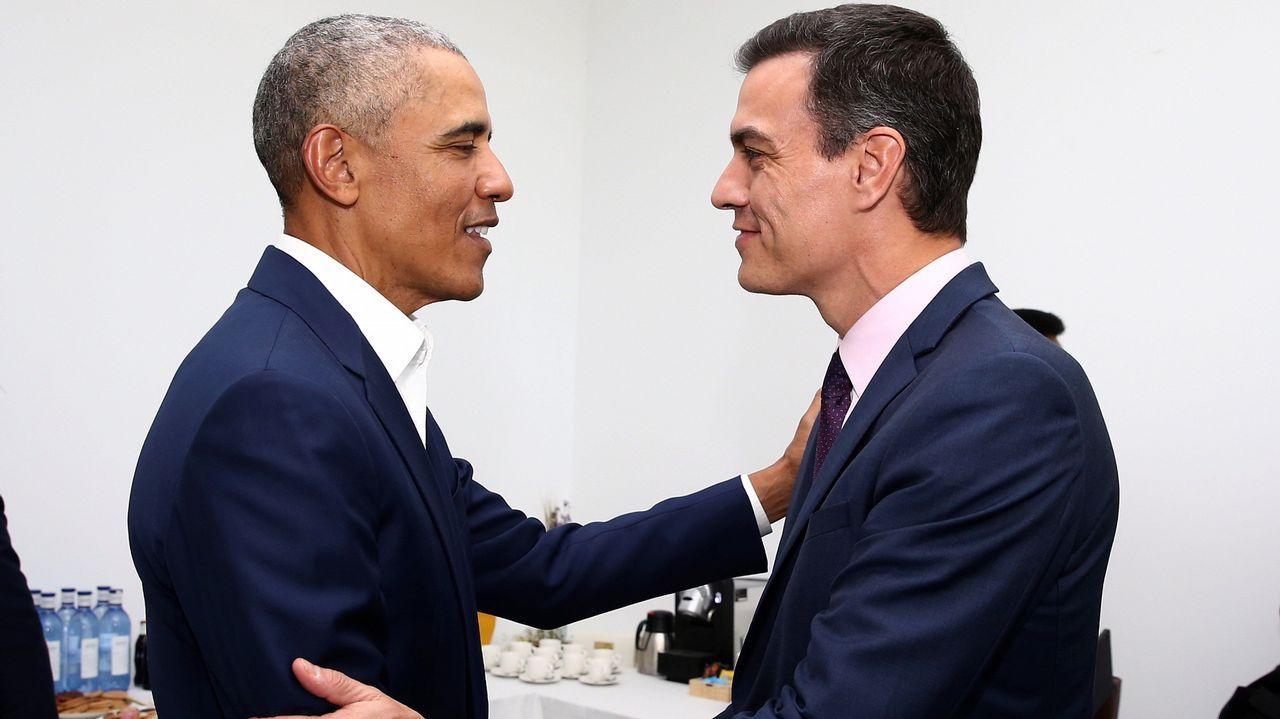 Sánchez se marca un tanto con Obama.Los cinco candidatos