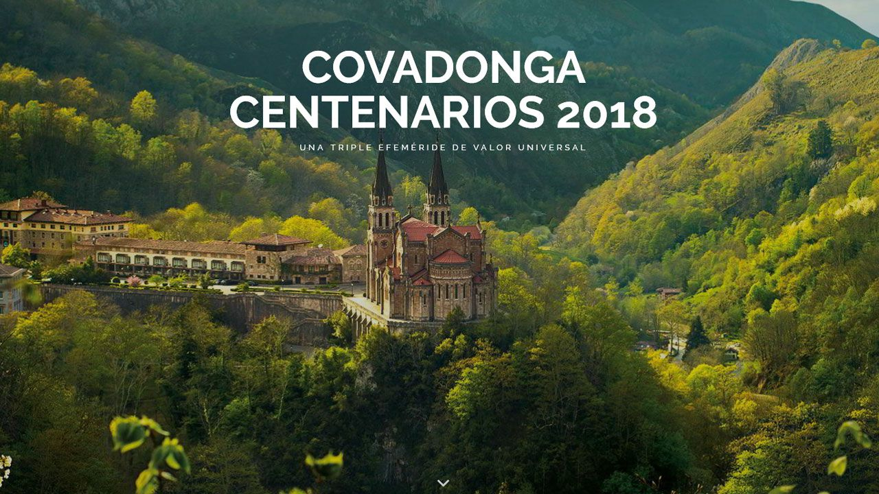Portada de la web dedicada a los Centenarios de Covadonga 2018
