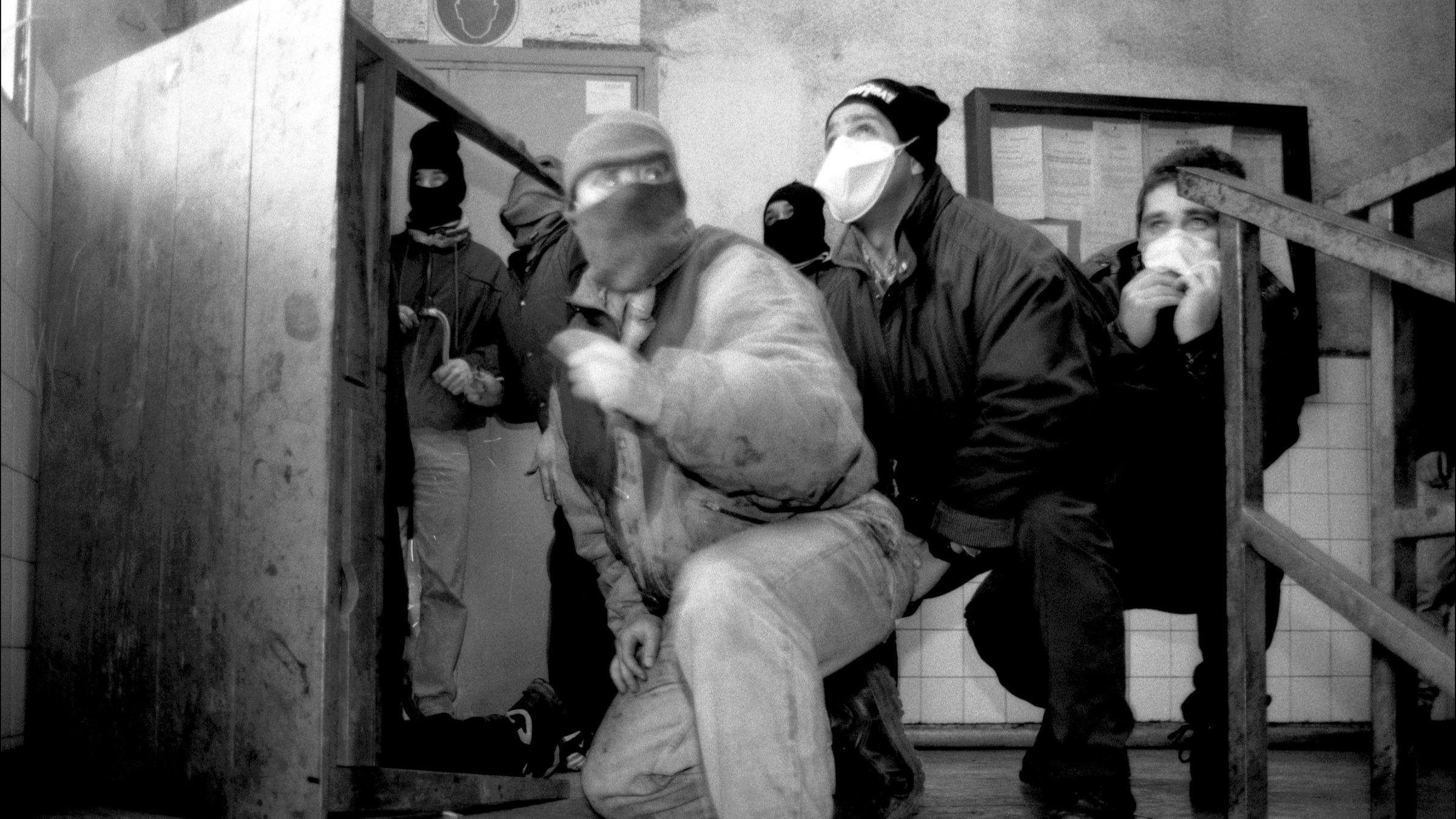 Interior de la casa de Aseos del Pozo Maria Luisa durante las Movilizaciones Mineras de 1997