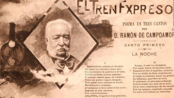 Postal de época con la efigie de Campoamor y el inicio de su poema «El Tren Expreso»