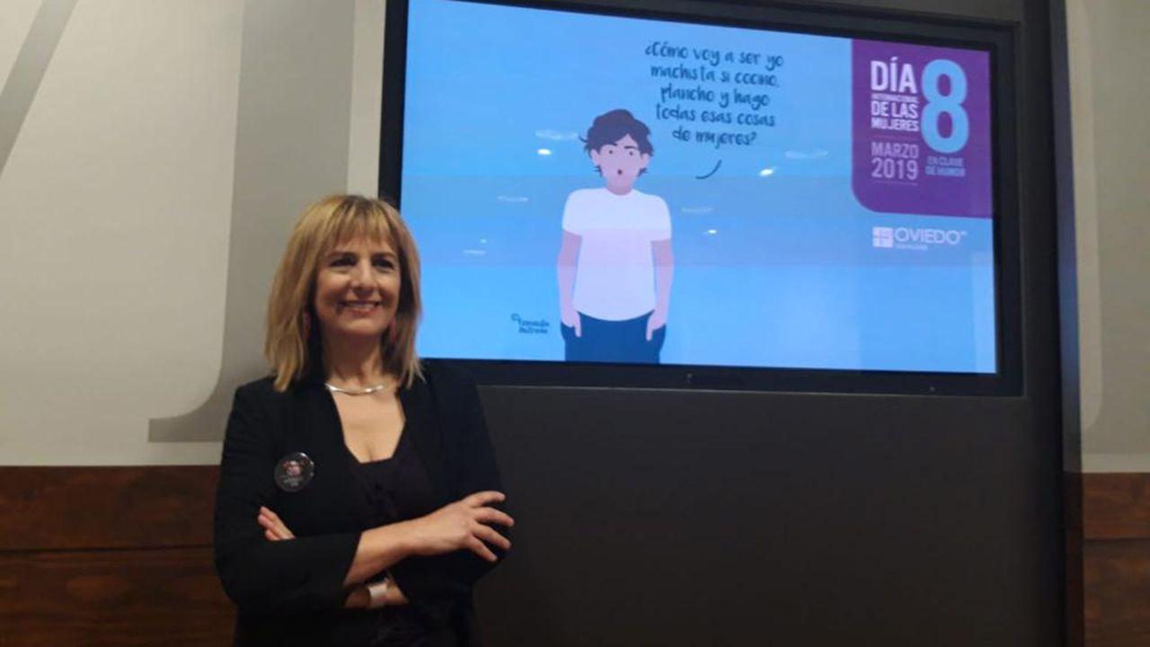 Marisa Ponga en la presentación de los actos del 8M en Oviedo