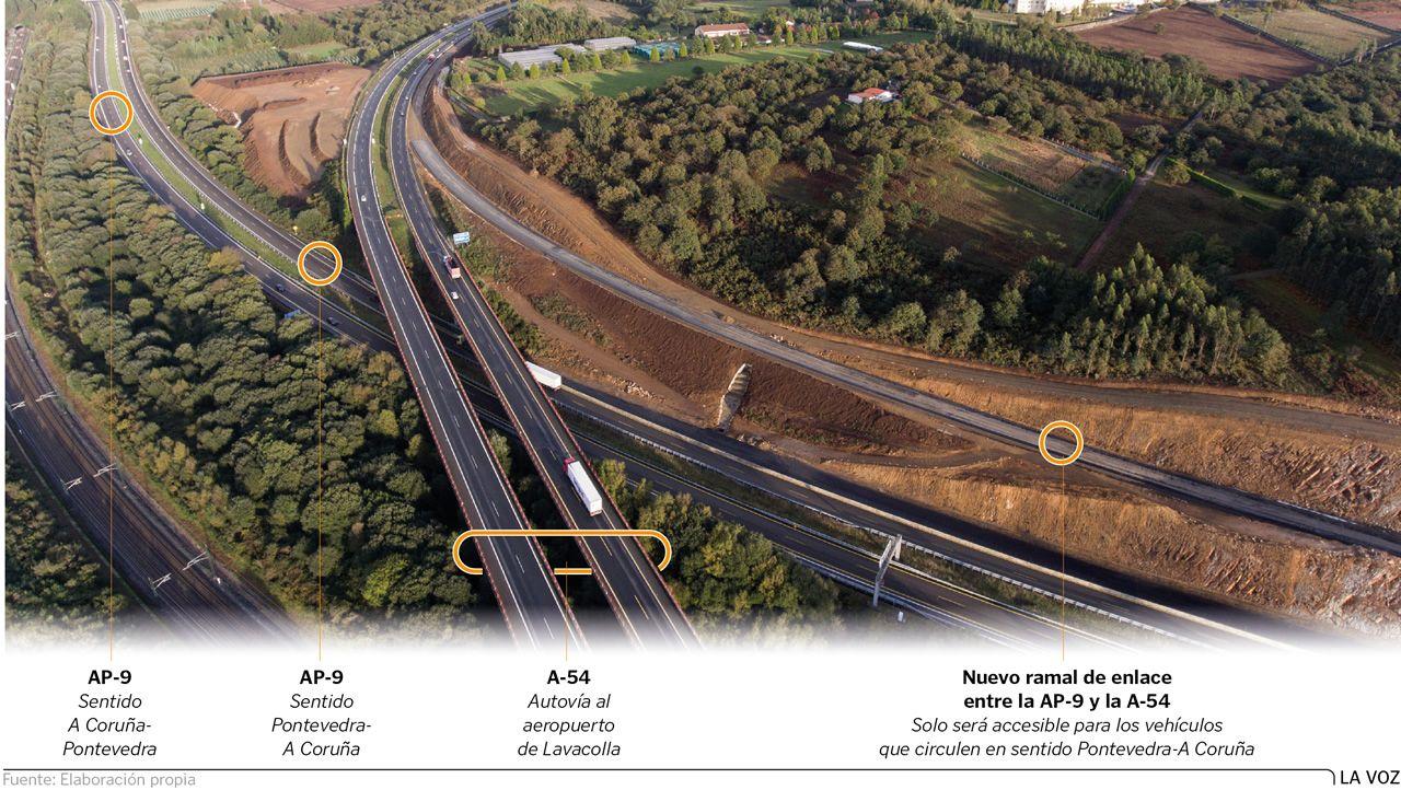 Obras de ampliación de la AP-9 en la salida norte