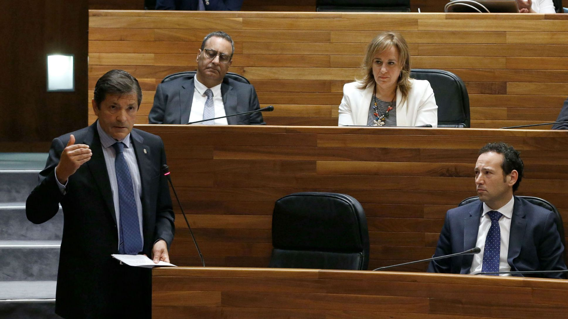 .La presidenta del PP, Mercedes Fernández, durante su intervención en el pleno de la Junta General, con David González Medina, al fondo de la bancada