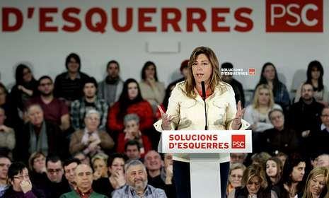 Susana Díaz protagonizó un acto del PSC en Hospitalet para respaldar a Pere Navarro.