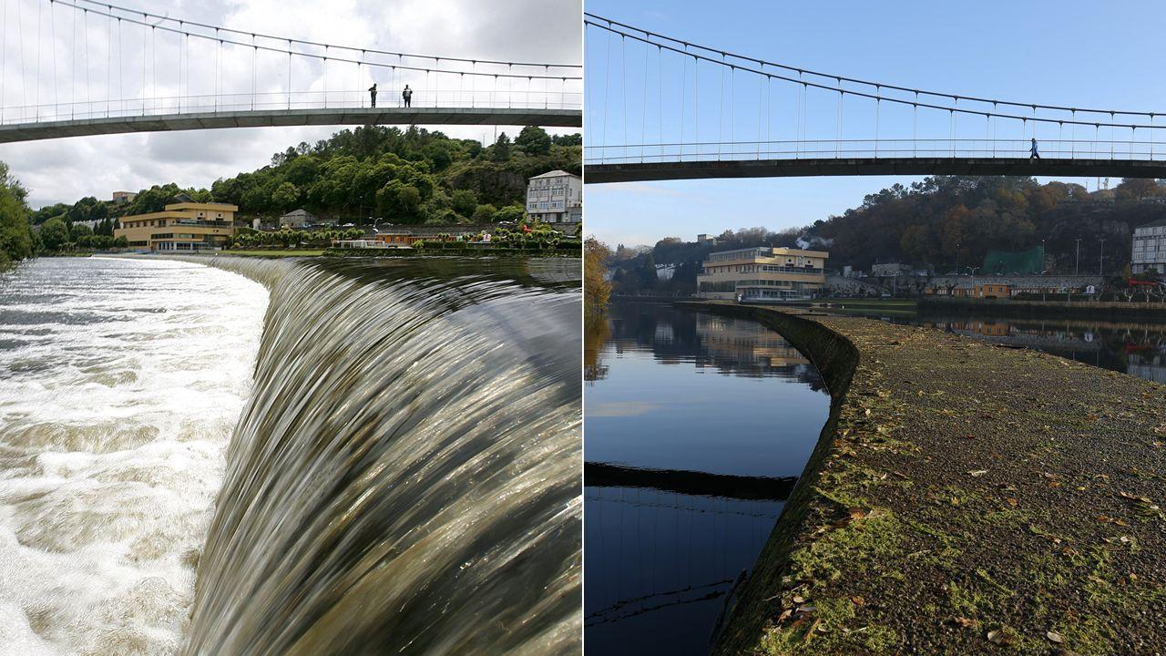 El tramo urbano del Miño en Lugo en una imagen del 2011 y otra tomada el jueves