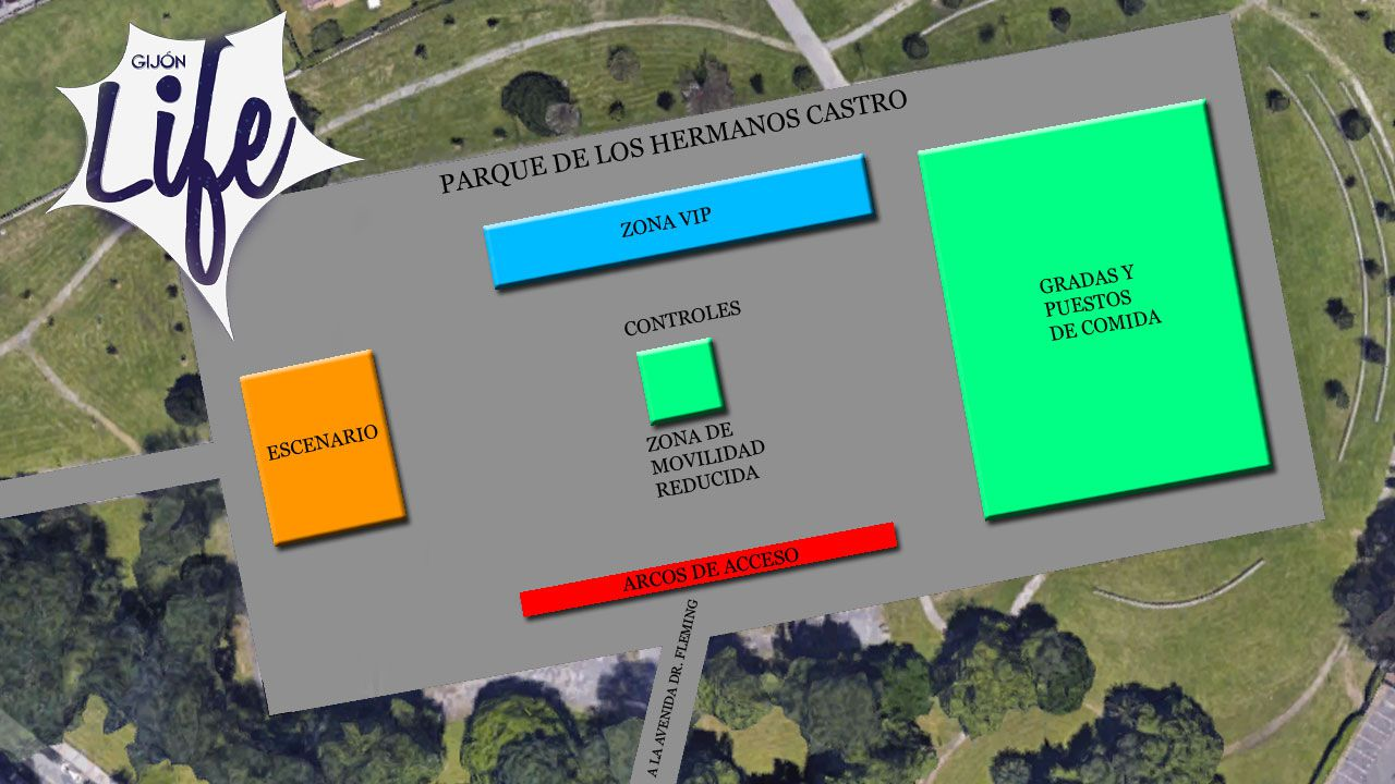 La reina Letizia y Kate Middleton, ¿persiguiendo el mismo «look»?.Distribución de los espacios en la explanada del parque Hermanos Castro para el festival Gijón Life