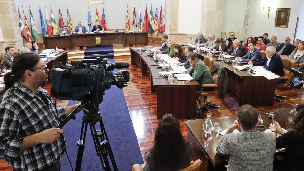 Esperpento en la Diputación de Lugo.Manifestación por la oficialidad del asturiano
