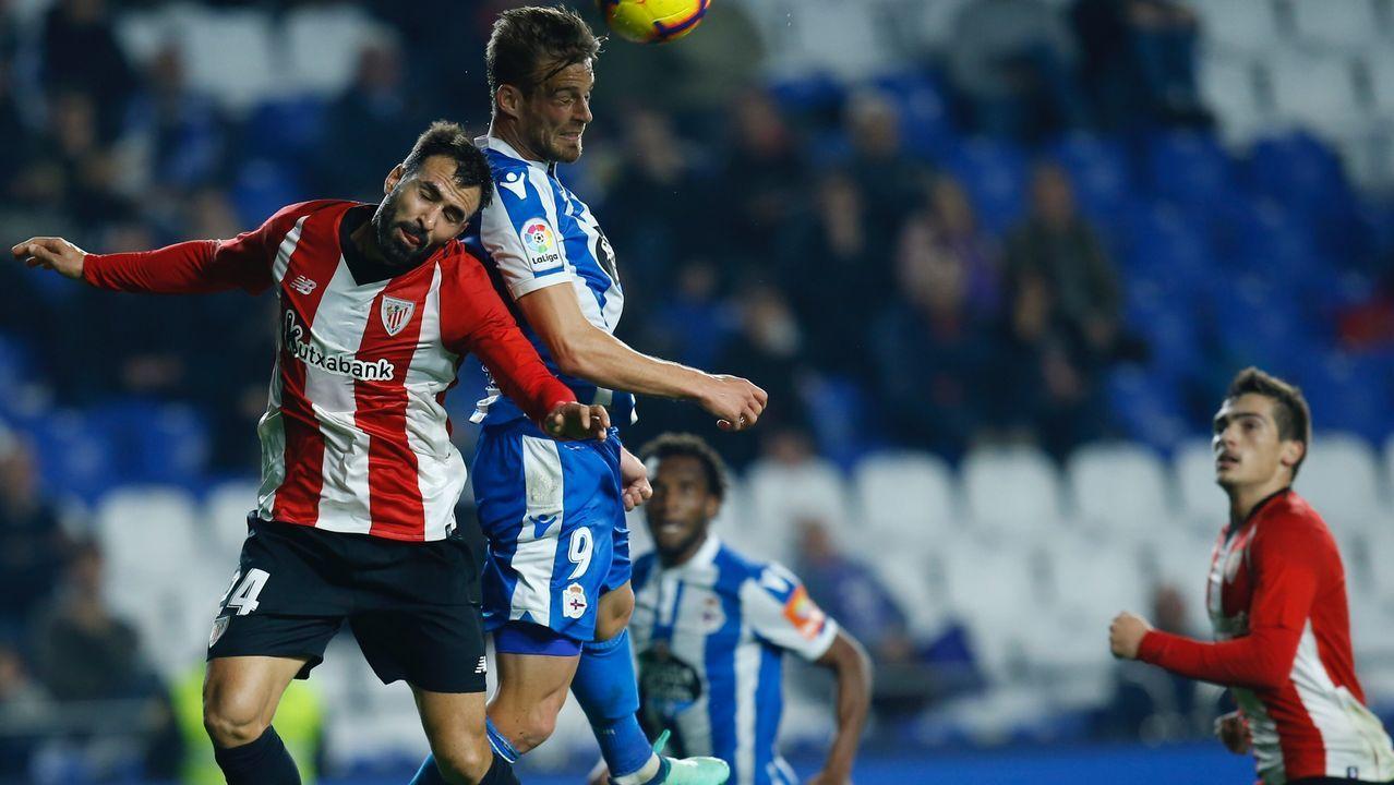 El Deportivo vuelve al trabajo pensando en Almería.David Medina