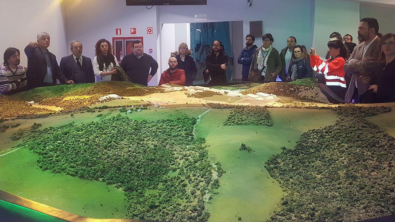 Casado contra la oficialidad.Las autoridades de Oviedo contemplan una maqueta del vertedero de Cogersa