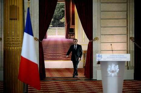 François Hollande antes de la rueda de prensa de ayer en el Elíseo.
