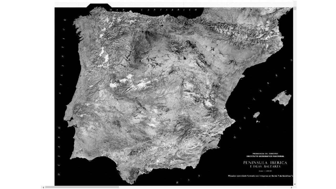Un mapa de España realizado a finales de los 70 con fotografías tomadas por satélite