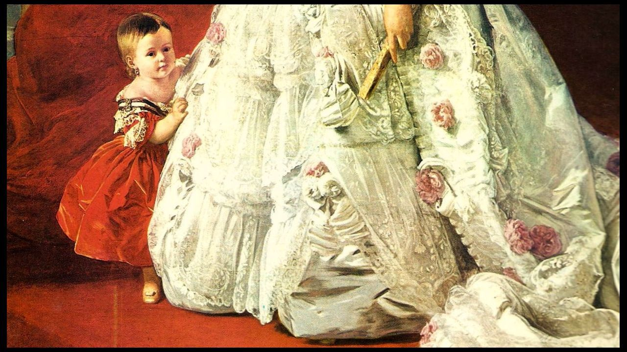 «¡La república no existe, idiota!».Detalle del retrato de la reina Isabel II y la infanta Isabel realizado por el pintor alemán Winterhalter en 1852, cuando la heredera contaba un año de edad