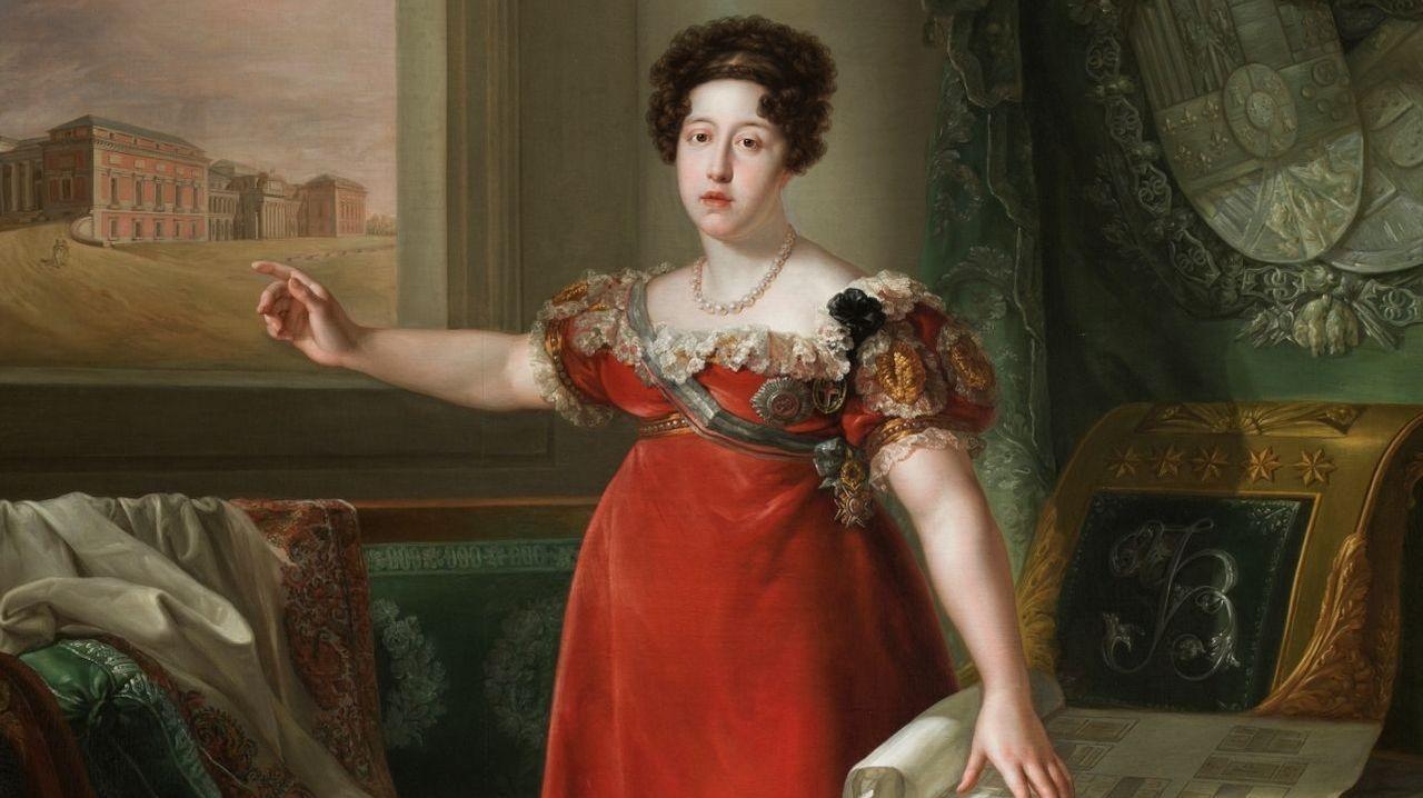 La reina María Isabel de Braganza, segunda esposa de Fernando VII, como fundadora del Museo del Prado, cuyo edificio puede verse a través de la ventana, retratada por Bernardo López Piquer (1829). Museo del Prado
