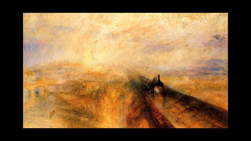 «Lluvia, vapor y velocidad», óleo conocido también como «El gran ferrocarril del Oeste», obra de Joseph Mallord William Turner (1775- 1851). National Gallery, Londres