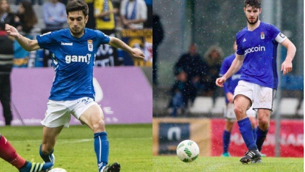 Mossa Sergio Alvarez Real Oviedo Sporting derbi Carlos Tartiere.Héctor Nespral y Emilio Morilla con la camiseta del Real Oviedo