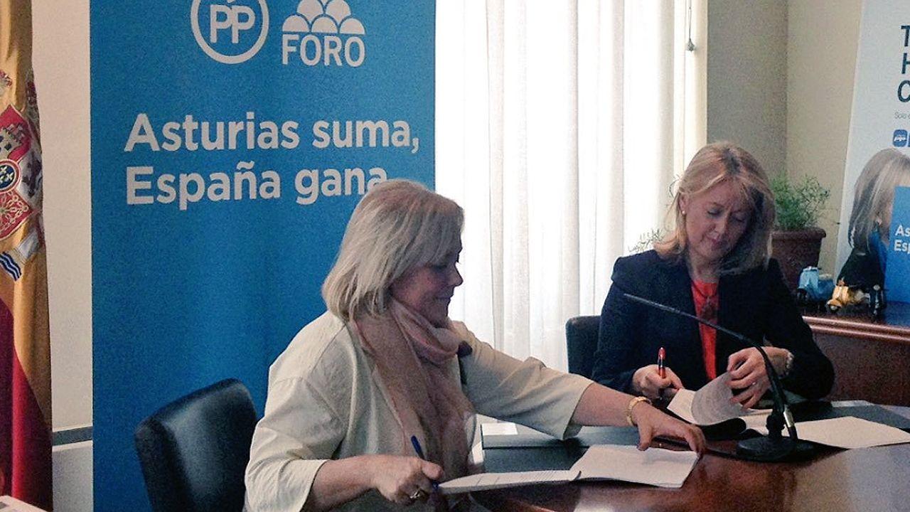 Mercedes Fernández y Cristina Coto firman el acuerdo de coalición en las elecciones generales
