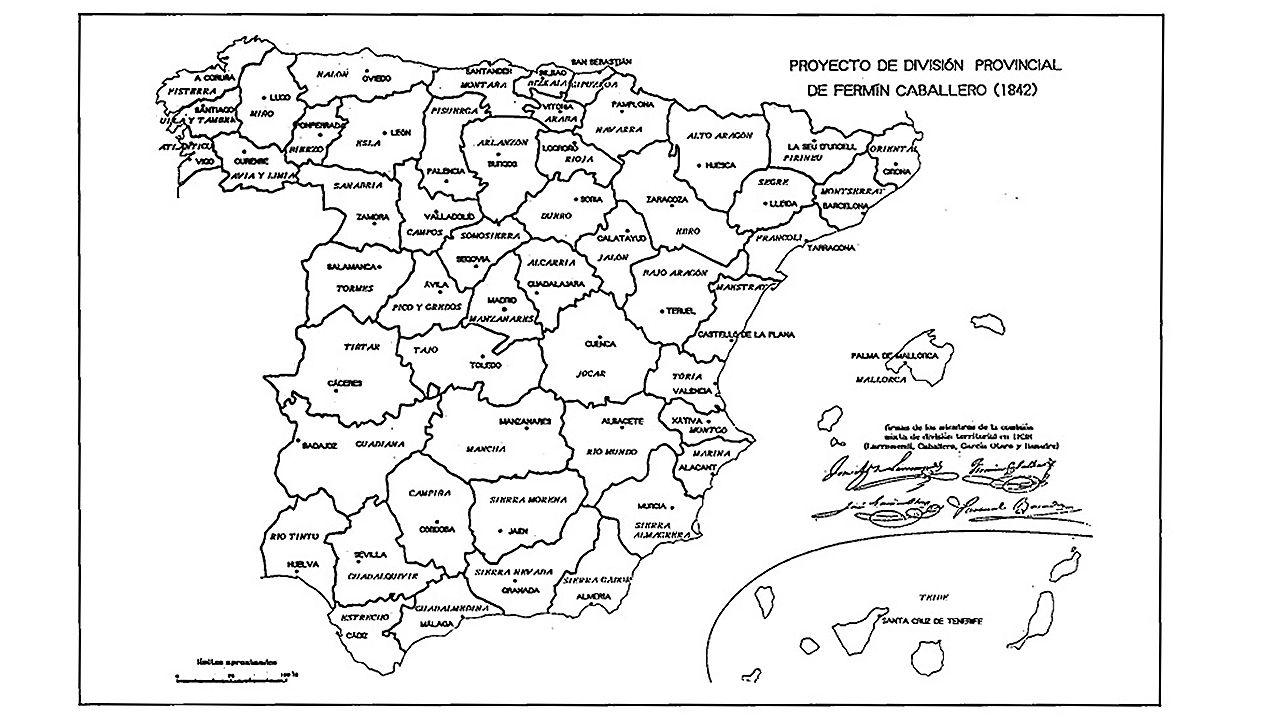 El mapa de provincias ideado por Fermín Caballero