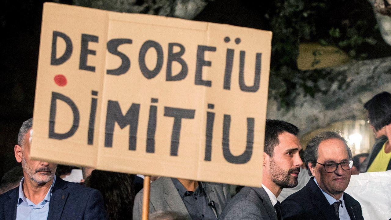 ERC y la CUP reclaman una «estrategia común» a Torra tras el ultimátum a Sánchez.Roger Torrent, esta mañana