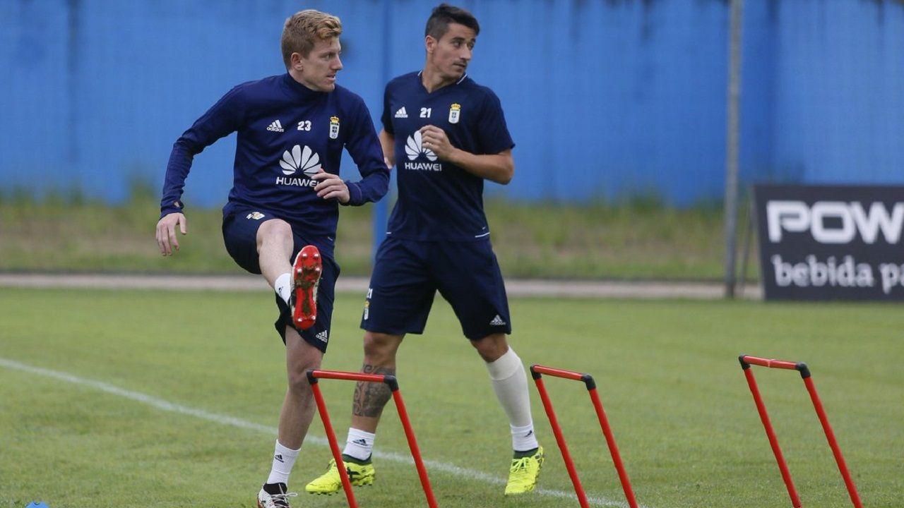 Mossa en un entrenamiento junto a Saúl Berjón