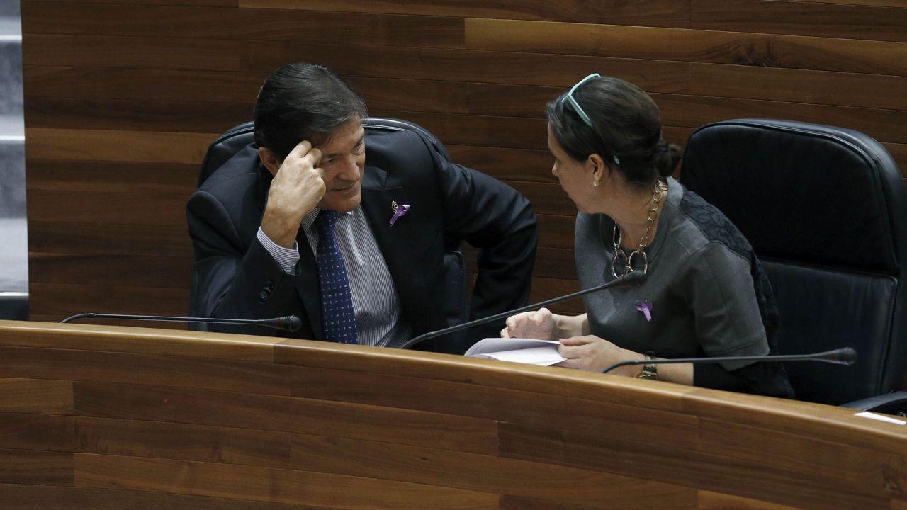 .El presidente asturiano, Javier Fernández, y la consejera de Hacienda, Dolores Carcedo