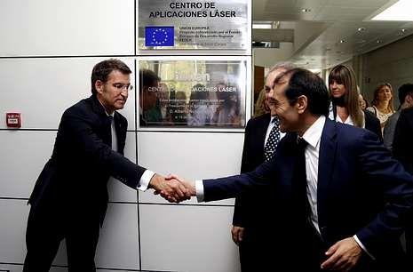 El PP contra Podemos.Feijoo y Santos se encontraron recientemente en el centro Aimen de O Porriño.