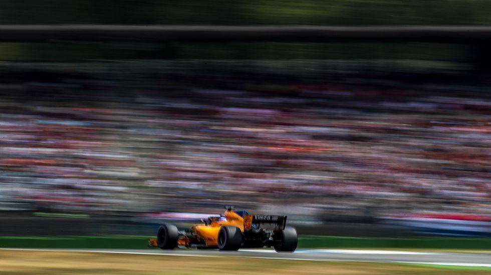 .Fernando Alonso, en un momento de su carrera en el Gran Premio de Alemania
