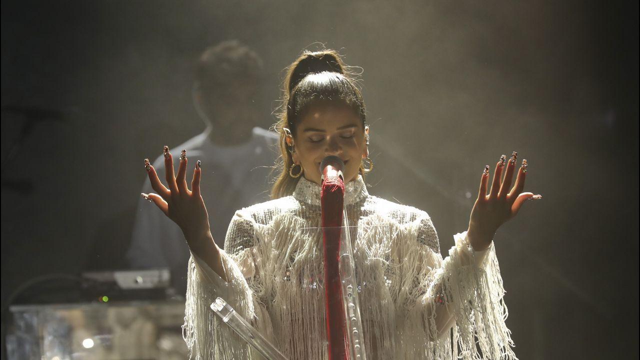 Rosalía, durante su actuación del pasado verano en Compostela