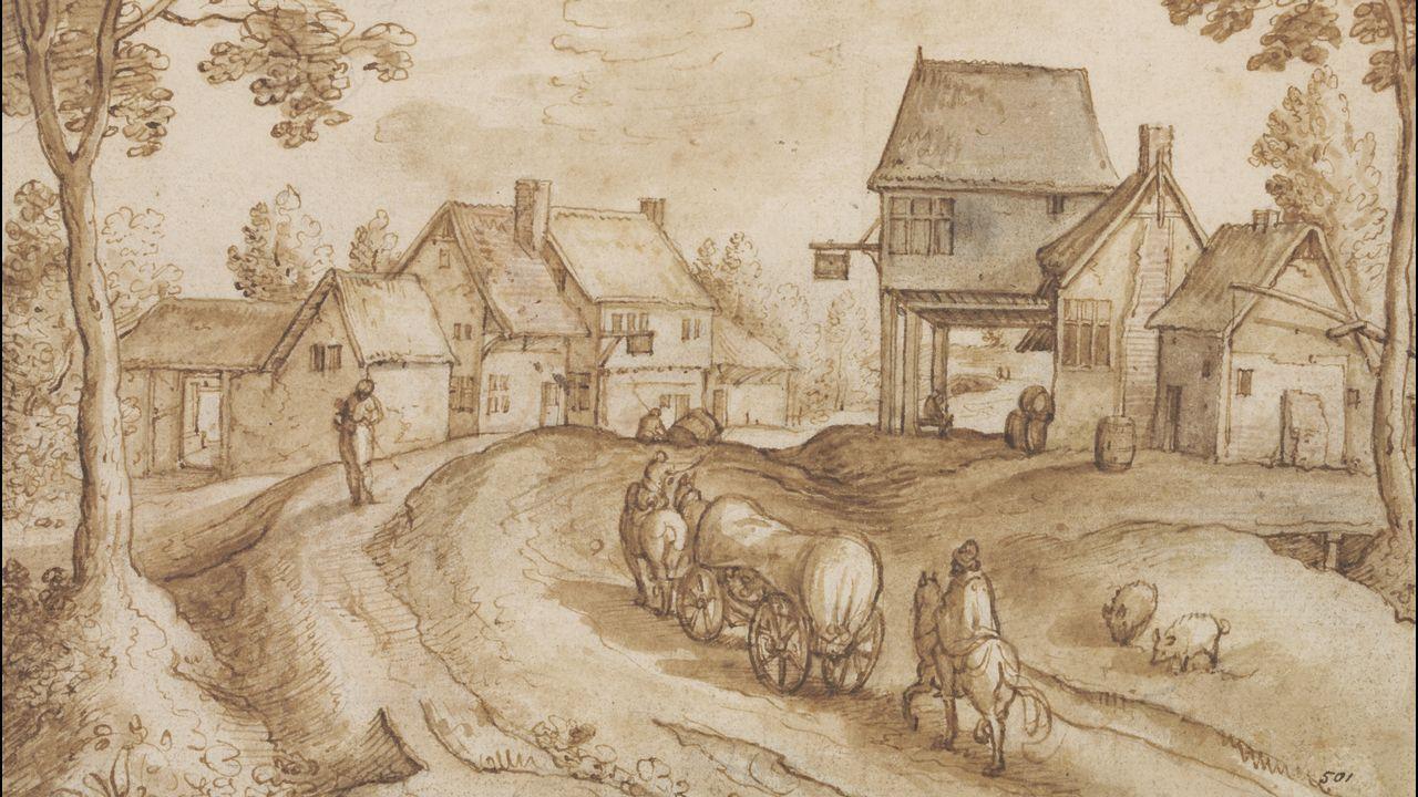 «Carreta cubierta cruzando la carretera entre dos posadas», de Hans Bol.