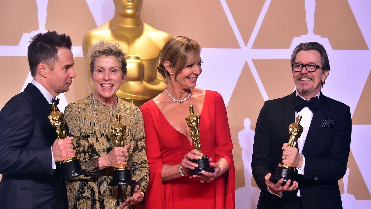 .Los cuatro actores ganadores en papeles principañes y de reparto: Sam Rockwell, Frances McDormand, Allison Janney y Gary Oldman