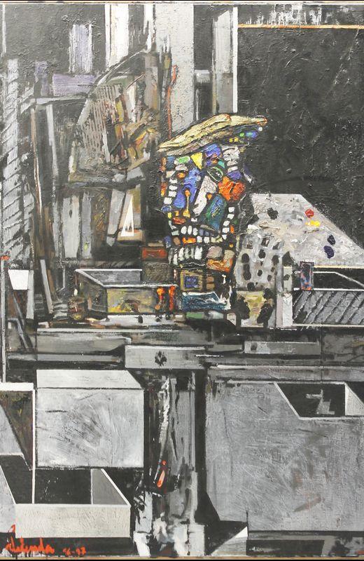 «Autorretrato de mi Kadáver en el taller» (1997), de Alfonso Abelenda. Autorretrato de mi Kadáver en el taller   (1997), de Alfonso Abelenda  Mixta sobre lienzo - 130x 97 - 1997